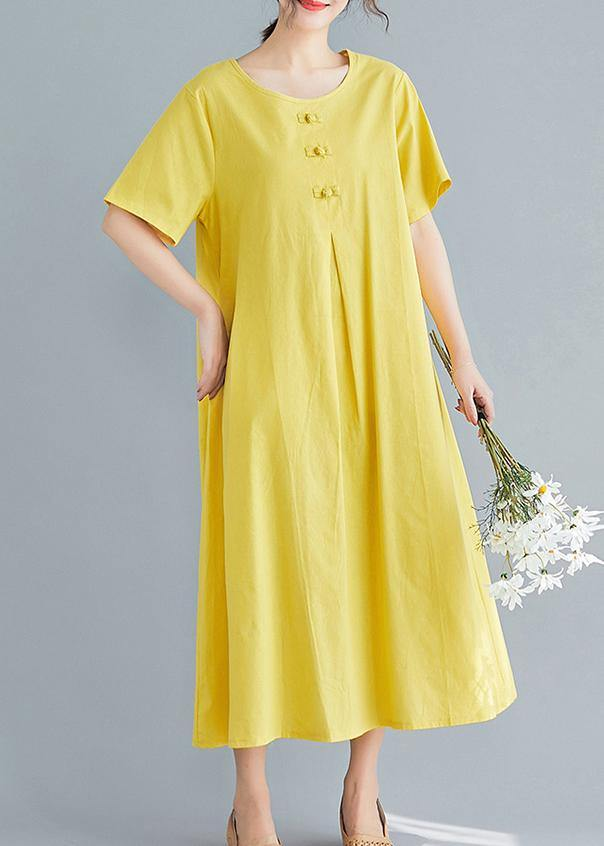 Beautiful yellow solid color cotton tunics for women o neck long summer Dress