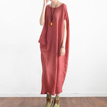 Load image into Gallery viewer, Black casual asymmetrical baggy linen summer dresses oversized sleeveless cotton