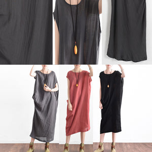 Black casual asymmetrical baggy linen summer dresses oversized sleeveless cotton