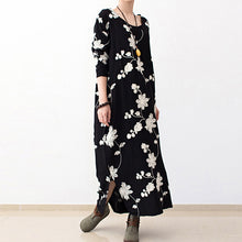 Load image into Gallery viewer, Black embroidered cotton dresses 2017 fall caftans long cotton maxi dresses