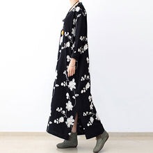 Afbeelding in Gallery-weergave laden, Black embroidered cotton dresses 2017 fall caftans long cotton maxi dresses