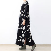 Black embroidered cotton dresses 2021 fall caftans long cotton maxi dresses