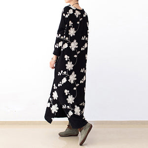 Black embroidered cotton dresses 2017 fall caftans long cotton maxi dresses