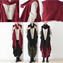 Black fake scarf vest plus size linen clothing casual fall winter outfits