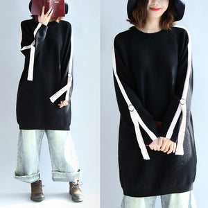 Black fashion oversized sweat dress warm spring dresses plus size pullover blouse