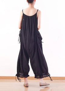 Black loose drawstring slim suspender wide leg jumpsuit