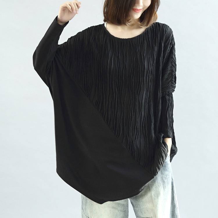 Black patchwork cotton blouses oversized long sleeve t shirts pullover