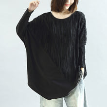 Load image into Gallery viewer, Black patchwork cotton blouses oversized long sleeve t shirts pullover