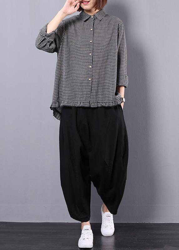 Black plaid shirt suit female long sleeve 2019 spring and autumn loose casual harem pants two-piece suit