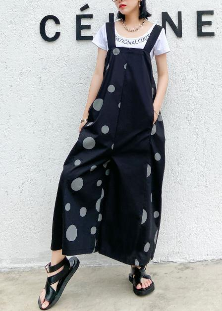 Black polka dot overalls 2020 new loose large size nine points straight wide leg pants
