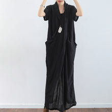 Load image into Gallery viewer, Black texture linen dresses summer plus size linen sundress caftans oversized gown