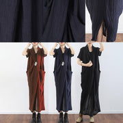 Black texture linen dresses summer plus size linen sundress caftans oversized gown