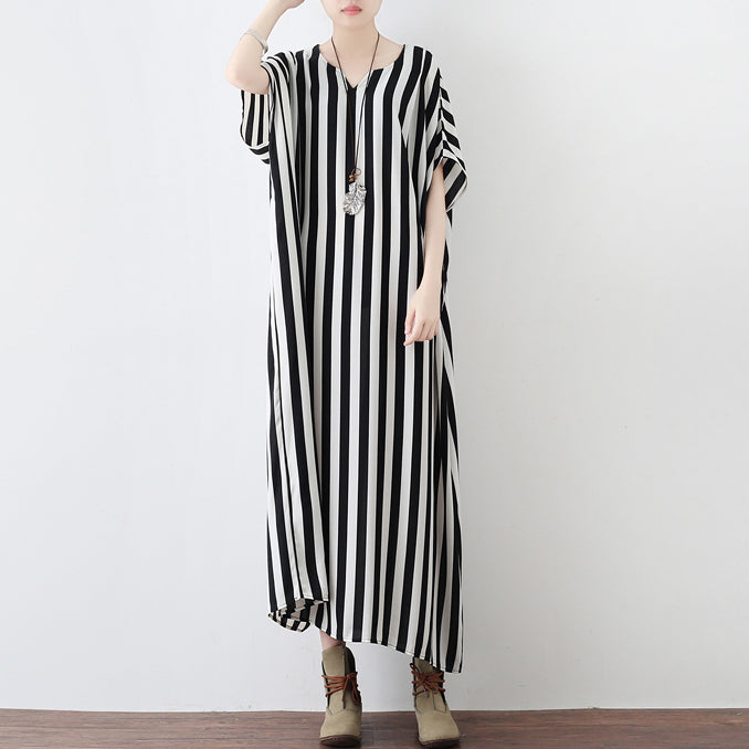 Black white striped summer dresses oversized chiffon caftans plus size maxi dress beach dresses sundress