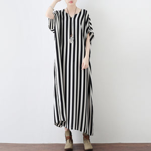 Black white striped summer dresses oversized chiffon caftans plus ...