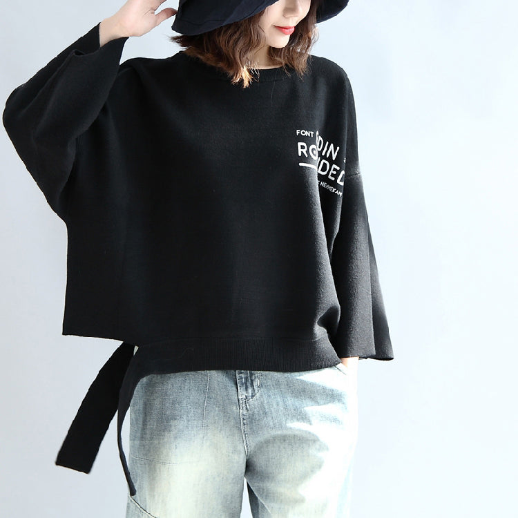 Black woolen short tops women oversize winter clothing plus size t shirts