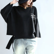 Load image into Gallery viewer, Black woolen short tops women oversize winter clothing plus size t shirts