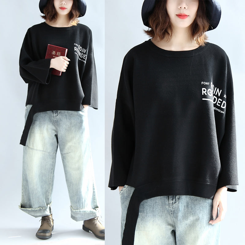 062aaf54257 Black woolen short tops women oversize winter clothing plus size t ...