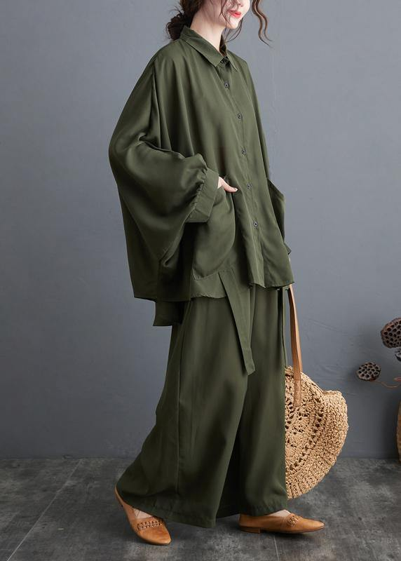 Blackish Green Two Piece Leisure Wide Legged Pants With Spring Art Loose Chiffon Shirt