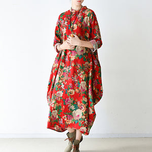 Blossom  red baggy cotton dresses loose fashion linen dress spring dresses
