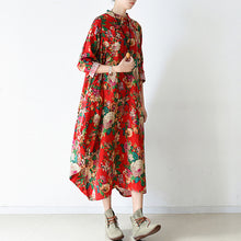 Load image into Gallery viewer, Blossom  red baggy cotton dresses loose fashion linen dress spring dresses