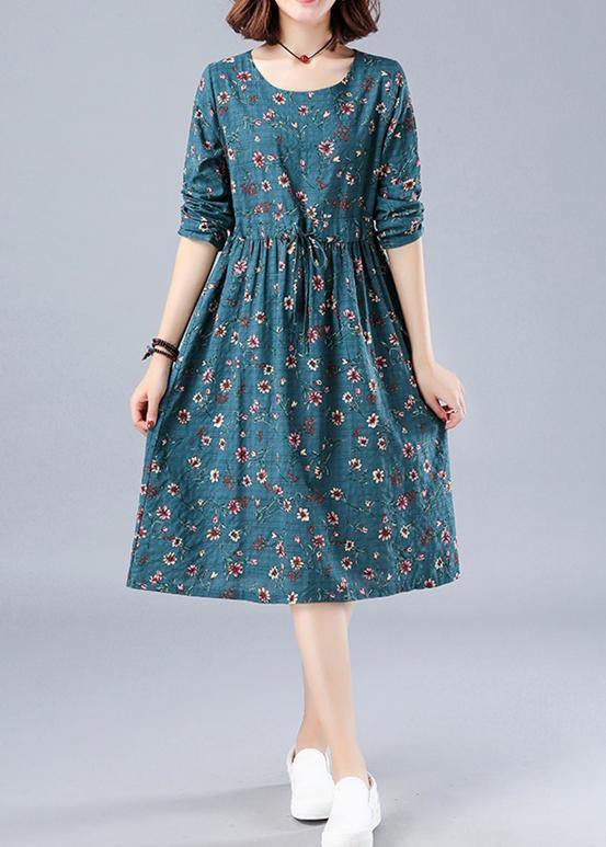 Bohemian Blue Print Robes O Neck Drawstring Daily Spring Dresses