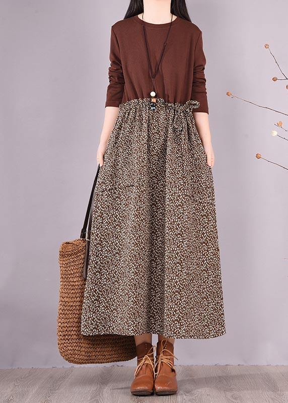 Bohemian Chocolate Patchwork Print Clothes For Women O Neck Maxi Spring Dress
