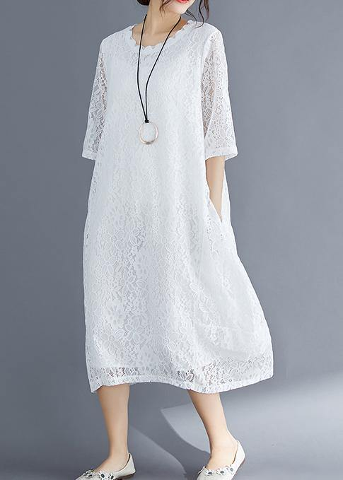 Bohemian Half sleeve o neck cotton Tunics stylish Inspiration white Maxi Dresses Summer