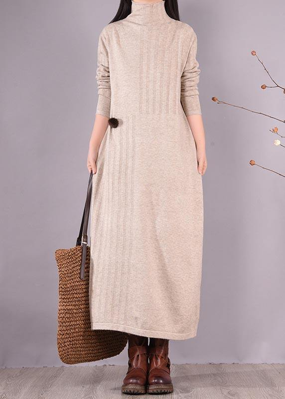 Bohemian High Neck Spring Dresses Wardrobes Beige Dress