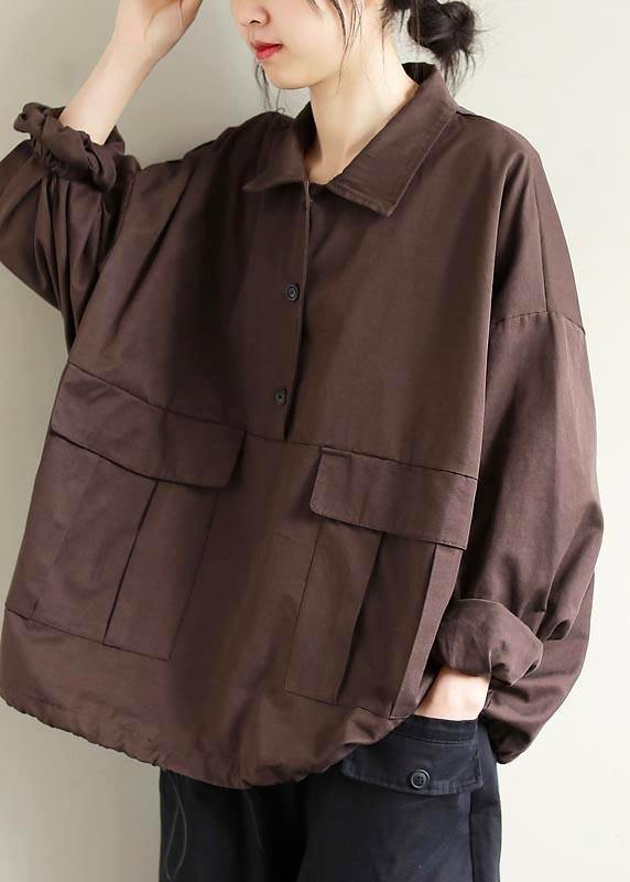 Bohemian Lapel Patchwork Spring Shirts Pattern Chocolate Shirt