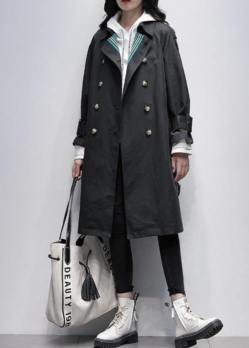 Bohemian Notched tie waist Fine trench coat black Knee coats