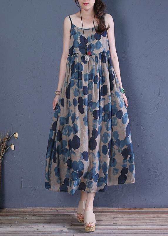 Bohemian Spaghetti Strap Cinched cotton dresses Runway blue print A Line Dress