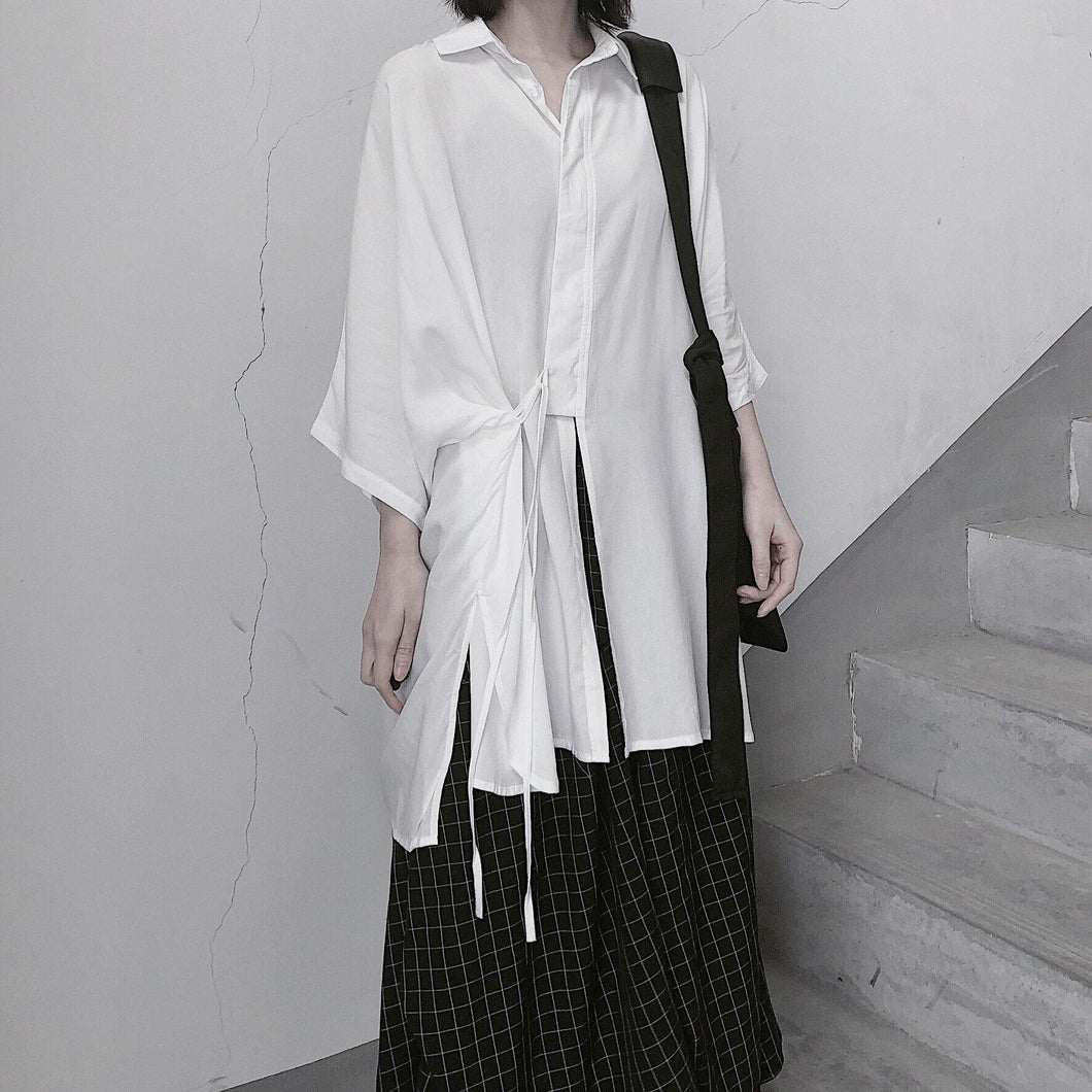 Bohemian White Clothes Lapel Batwing Sleeve Art Shirts