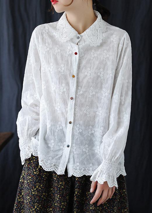 Bohemian White Embroidery Clothes For Women Lapel Plus Size Clothing Spring Shirts