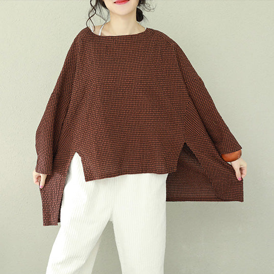 1681f5ebfc911a Bohemian asymmetric cotton women Fine Work black brown Plaid oversized tops  ...