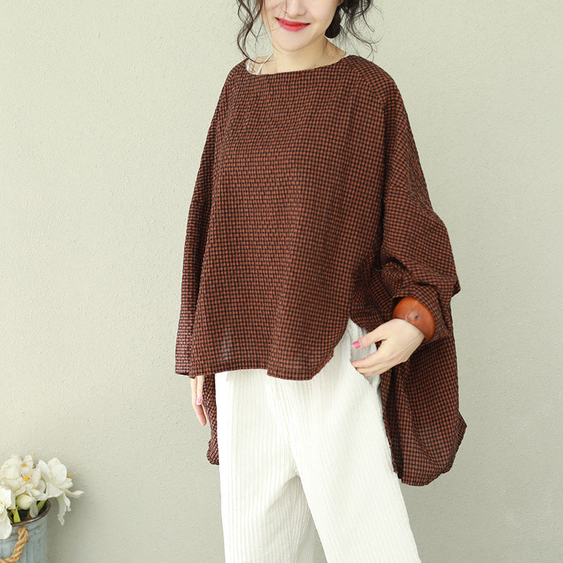 dd7b51a164c458 ... Bohemian asymmetric cotton women Fine Work black brown Plaid oversized  tops ...
