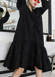 Bohemian black cotton clothes For Women Ruffles wrinkled Plus Size v neck Dress