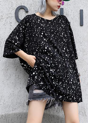 Bohemian black dotted cotton tunic top v neck side open Plus Size Clothing summer tops