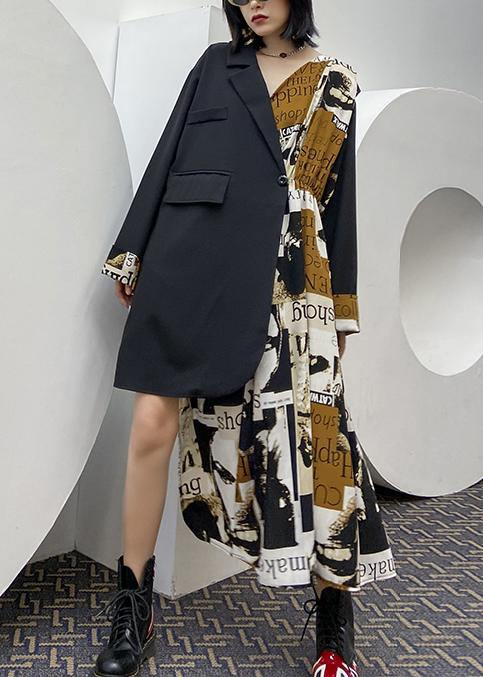 Bohemian black patchwork Letter outfit Notched asymmetric oversized Dress