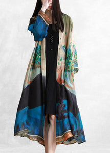 Bohemian Blue Green Print Feines Outfit Outfits Button Down Cardigan