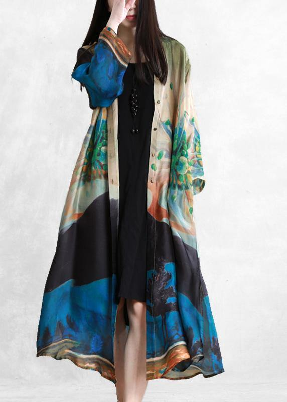 Bohemian blue green print Fine outfit Outfits Button Down cardigan
