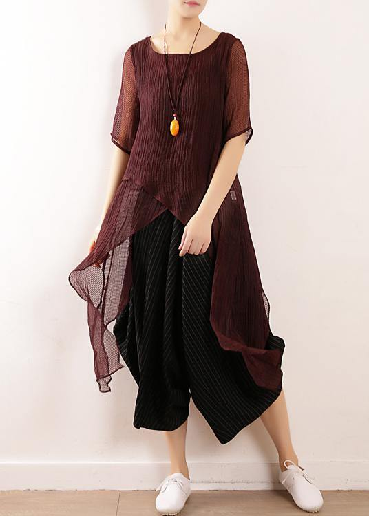 Bohemian burgundy linen top asymmetric hem Plus Size Clothing summer blouse