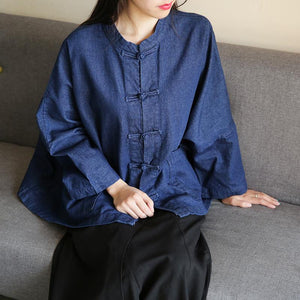 Bohemian denim dark blue clothes For Women stand collar Chinese Button tunic blouse