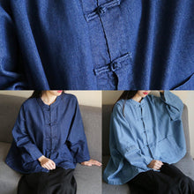 Load image into Gallery viewer, Bohemian denim dark blue clothes For Women stand collar Chinese Button tunic blouse