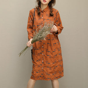 Bohemian embroidery Button Down cotton quilting clothes plus size Sleeve brown short Dresses