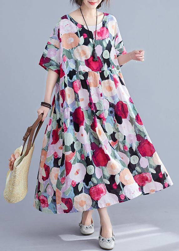 Bohemian floral Long dress half sleeve Cinched Maxi summer Dresses