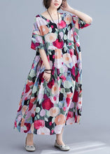 Load image into Gallery viewer, Bohemian floral Long dress half sleeve wrinkled Maxi summer Dresses