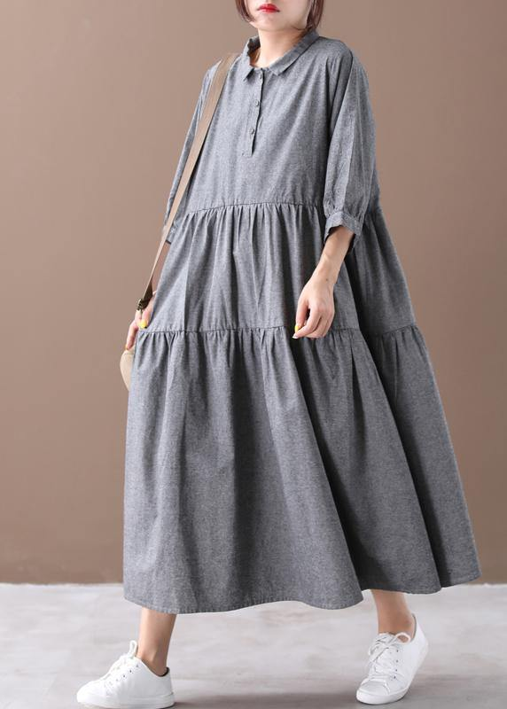 Bohemian gray clothes lapel Cinched Dresses spring Dresses