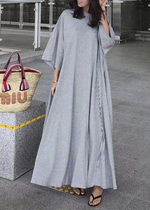 Bohemian gray cotton dresses o neck exra large hem long Dress