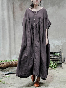 Bohemian gray cotton tunic pattern o neck baggy Kaftan Dresses
