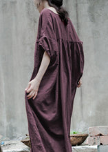 Load image into Gallery viewer, Bohemian gray cotton tunic pattern o neck baggy Kaftan Dresses
